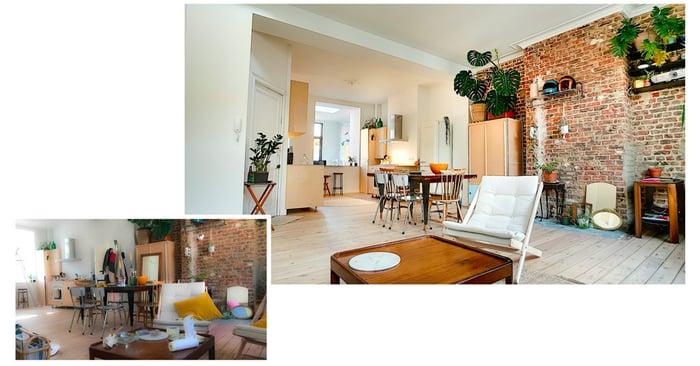 Comparativo di due foto immobiliari: una sala ordinata, l'altra no