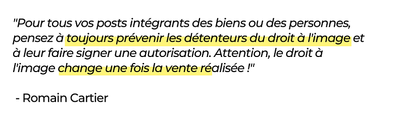 Romain Cartier - Réseaux sociaux pour l'immobilier citation