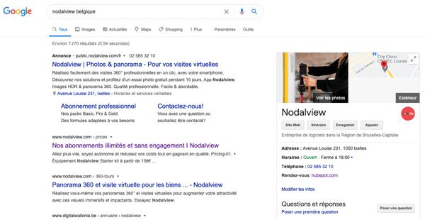 Exemple de la présentation de la page Nodalview sur Google