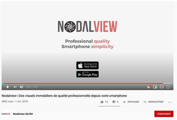 Capture décran vidéo de la chaîne youtube immobiliere de  Nodalview