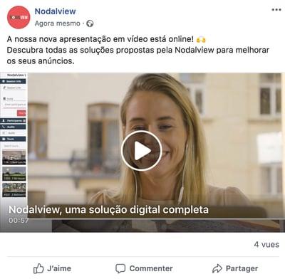 Exemplo de uma publicação imobiliária no Facebook promovendo um vídeo