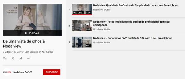 exemplo do canal atrativo da Nodalview no YouTube