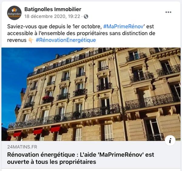stratégie immobilière page Facebook batignolles