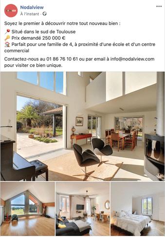 Exemple de publication facebook mettant en valeur un bien immobilier