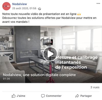 Exemple depost immobilier sur Facebook faisant la promotion d'une vidéo