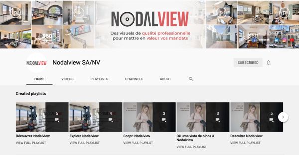 Screenshot of the Nodalview's YouTube homepage