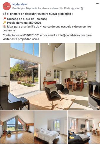 Ejemplo de publicación Facebook destacando una propiedad.