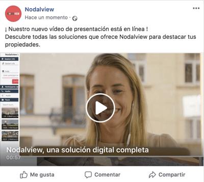 Ejemplo de post inmobiliario en Facebook promocionando un vídeo