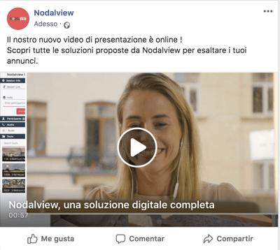 Esempio di post immobiliare su Facebook che promuove un video