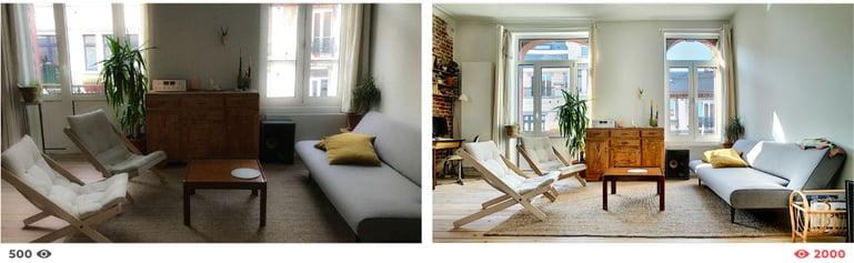Diferencia del número de vistas de anuncios que utilizan unas fotos inmobiliarias de calidad distinta